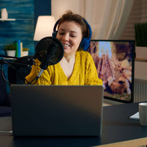How to start your own Podcast, a practical guide  How to start your own Podcast, a practical guide influencer wearing headphones recording new podcas GE4MEUU 500x500