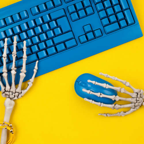 Don't Be Fooled by the Single Serving Friend Society  Don't Be Fooled by the Single Serving Friend Society human skeleton hands typing on blue computer keybo 6AR62U6 500x500